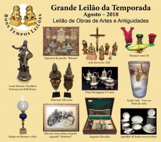 LEILÃO 1172 - BONS TEMPOS LEILÕES DE OBRAS DE ARTE E ANTIGUIDADES - AGOSTO 2018