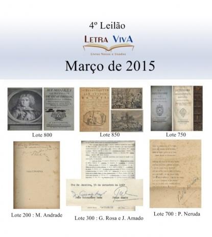 4º LEILÃO LETRA VIVA LIVROS, ARTE, COLECIONISMO, NUMISMÁTICA E OUTROS